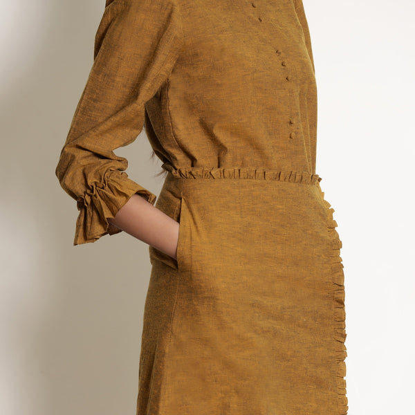 Right Detail  of a Model wearing Warm Golden Oak A-Line Frilled Skirt