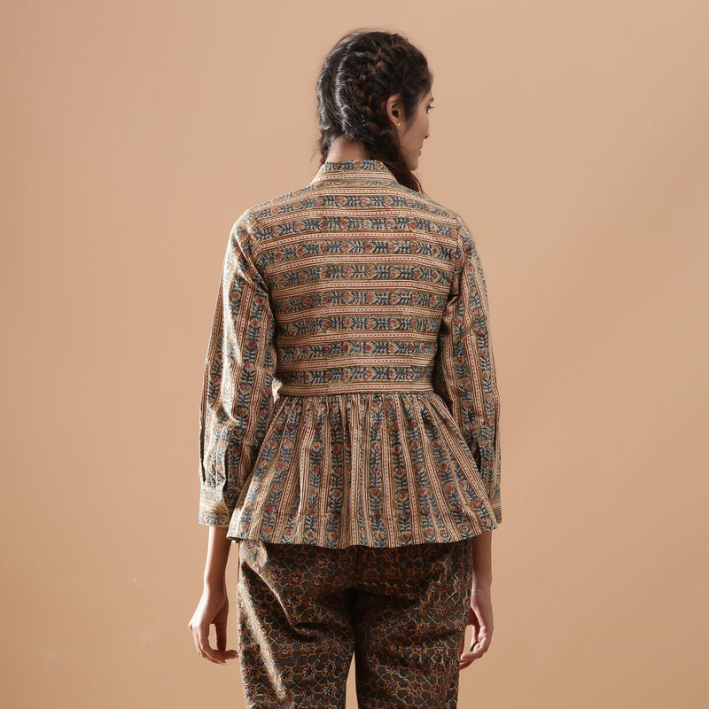 Back View of a Model wearing Warm Striped Floral Kalamkari Shirt