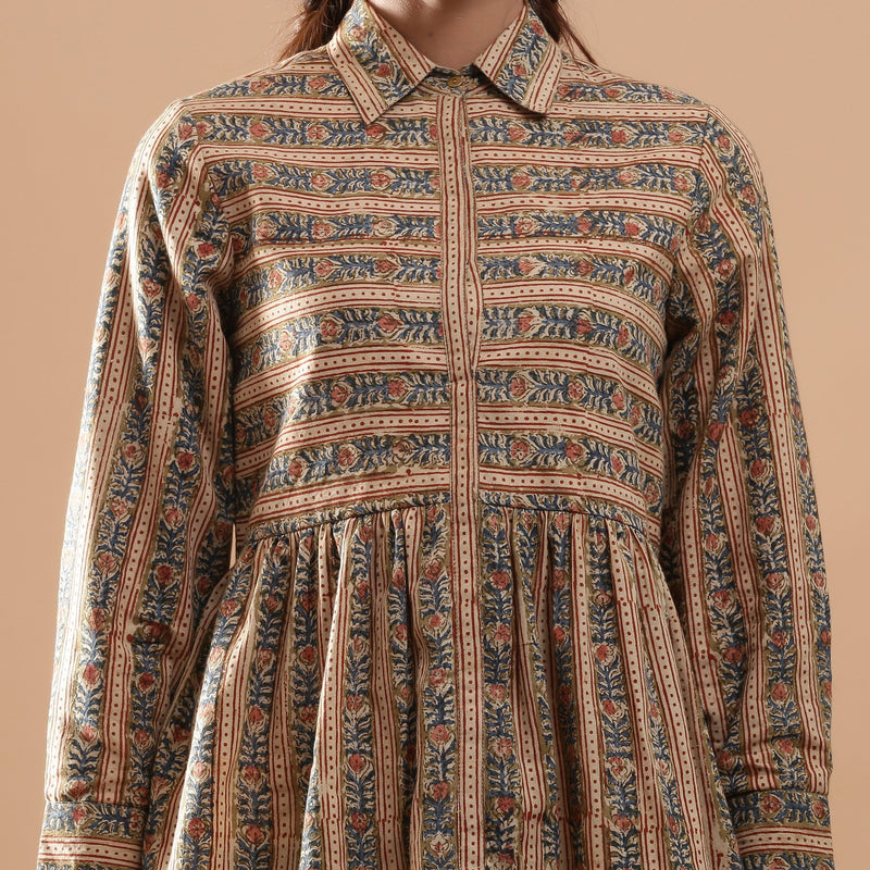 Front Detail of a Model wearing Warm Striped Floral Kalamkari Shirt