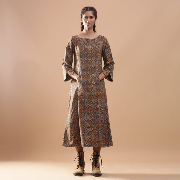 Front View of a Model wearing Warm Kalamkari Princess Line Midi Dress