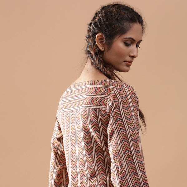 Right View of a Model wearing Warm Kalamkari StrIped A Line Dress
