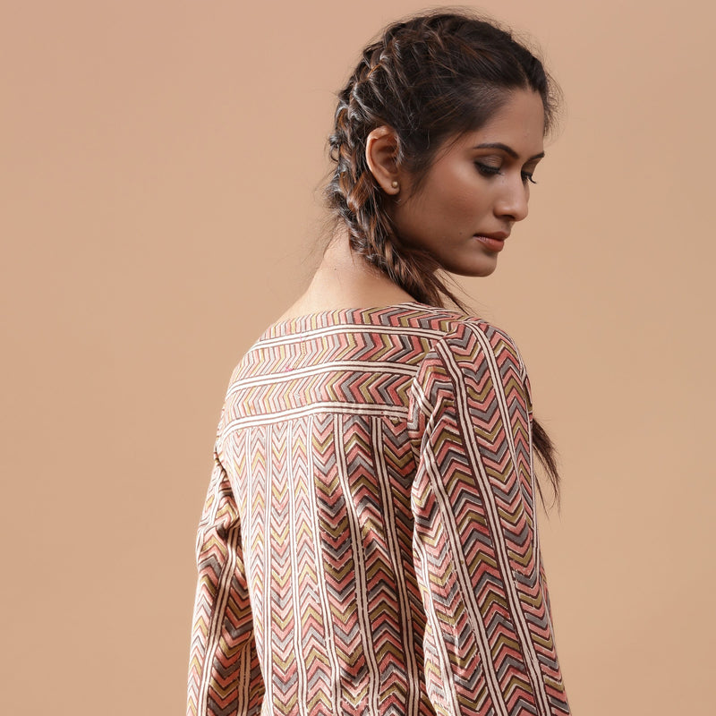 Right View of a Model wearing Warm Kalamkari StrIped A-Line Dress