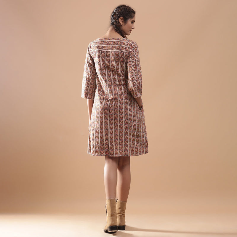Back View of a Model wearing Warm Kalamkari StrIped A-Line Dress