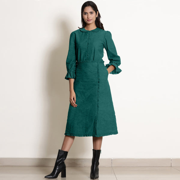 Front View of a Model wearing Warm Pine Green A-Line Frilled Skirt