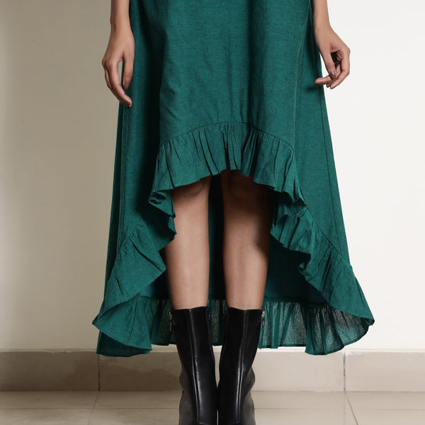 Front View of a Model wearing Warm Pine Green Frilled Neck High Low Dress