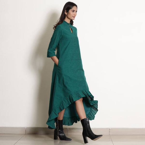 Warm Pine Green Frilled Neck High Low Dress