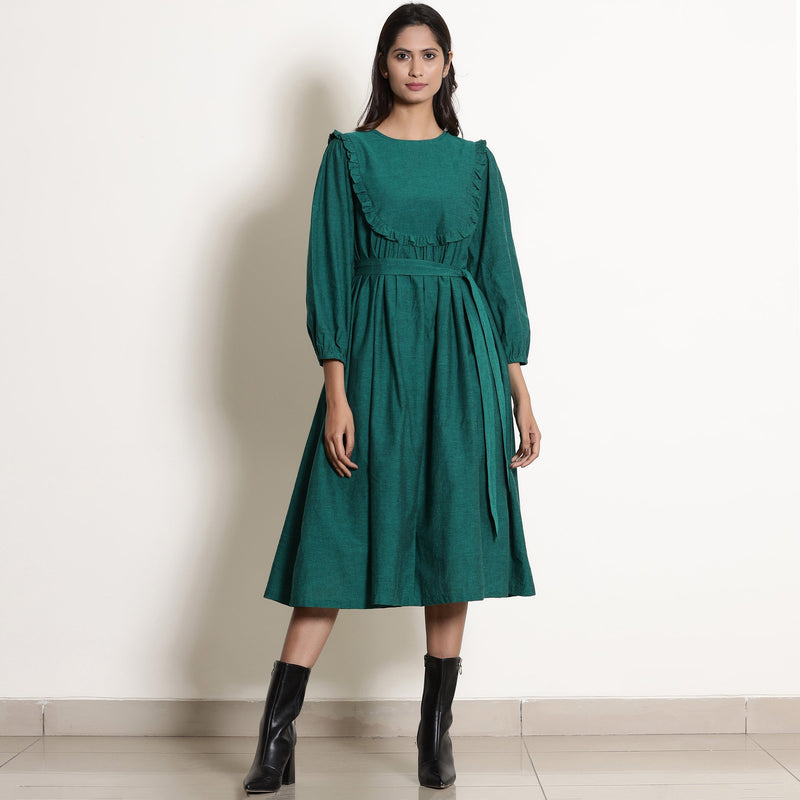 Warm Pine Green Frilled Yoke Dress