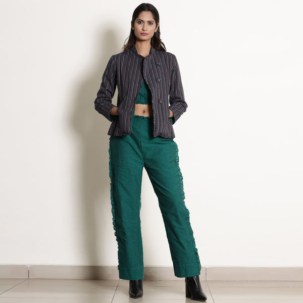 Front View of a Model wearing Warm Pine Green Versatile 3-Piece Set