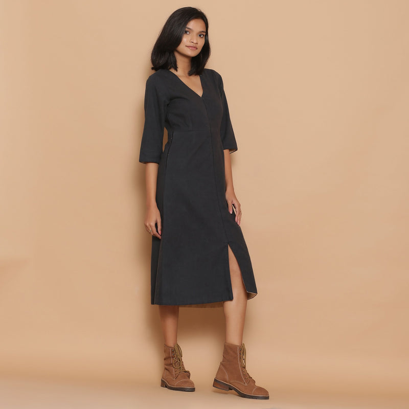Right View of a Model wearing Warm Reversible Slim Fit A-Line Slit Dress