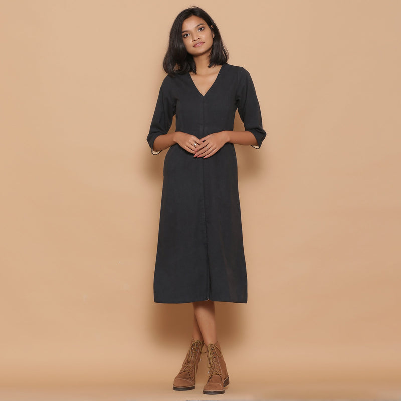 Front View of a Model wearing Warm Reversible Slim Fit A-Line Slit Dress