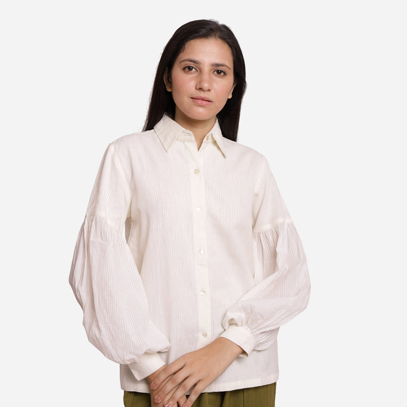 Front View of a Model wearing White Bishop Sleeve Cotton Shirt