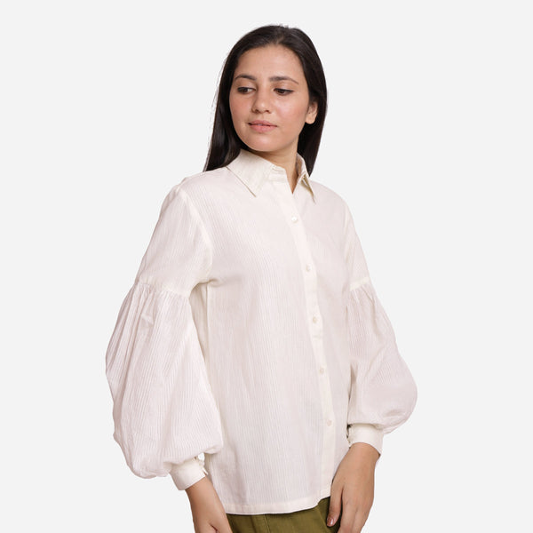 Right View of a Model wearing White Bishop Sleeve Cotton Shirt