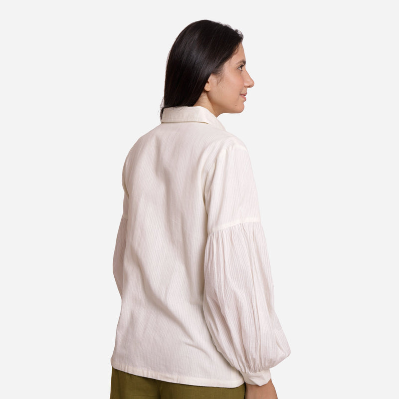 Back View of a Model wearing White Bishop Sleeve Cotton Shirt