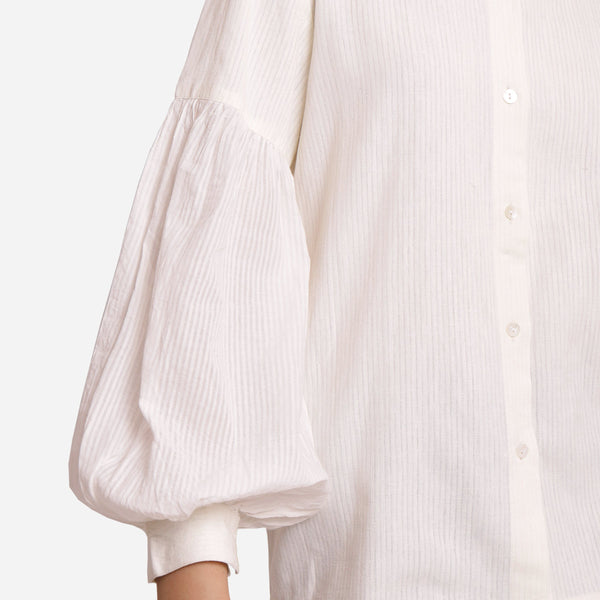 Close View of a Model wearing White Bishop Sleeve Cotton Shirt