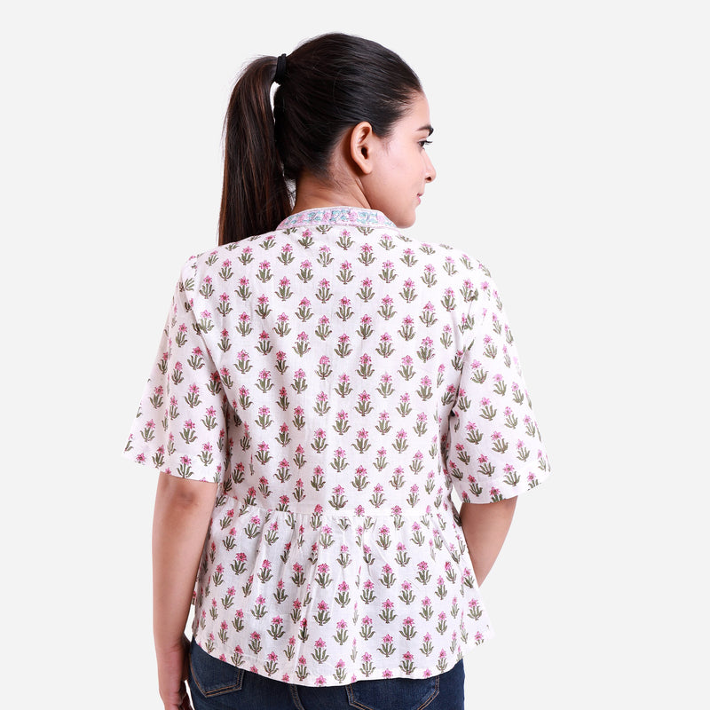 Back View of a Model wearing White Button-Down Flared Cotton Top