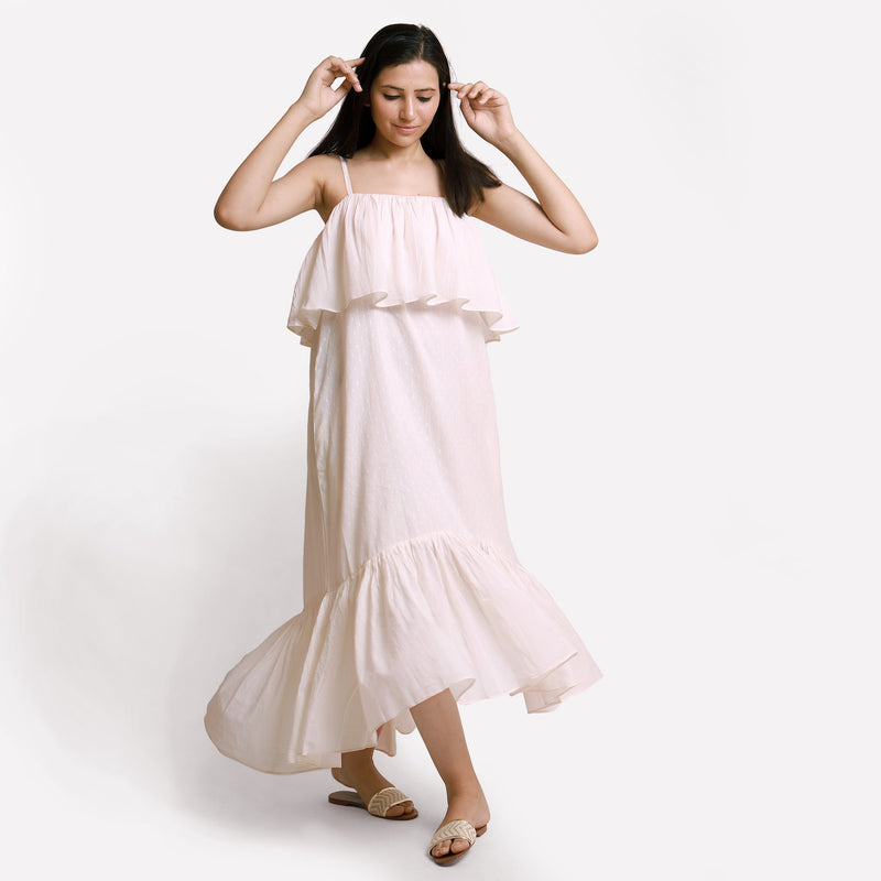 Front View of a Model wearing White Camisole Frill Maxi Dress