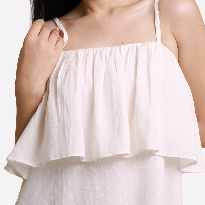 Front Detail of a Model wearing White Camisole Frill Maxi Dress