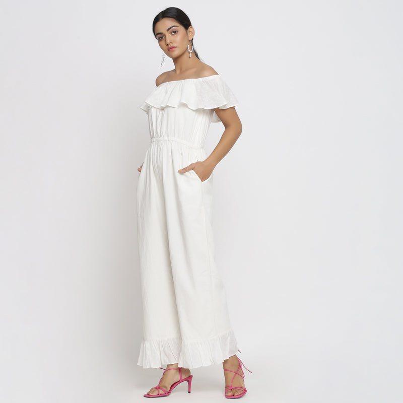 Left View of a Model wearing White Cotton Corduroy Straight Jumpsuit