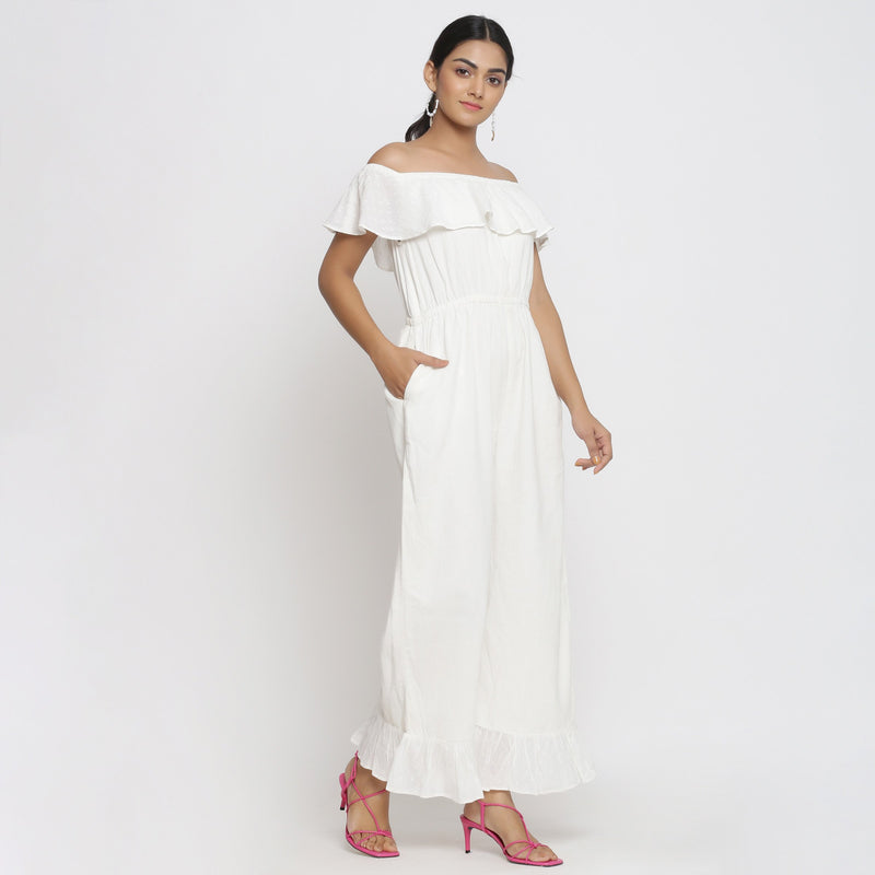Right View of a Model wearing White Cotton Corduroy Straight Jumpsuit