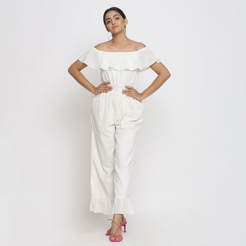 Front View of a Model wearing White Cotton Corduroy Straight Jumpsuit