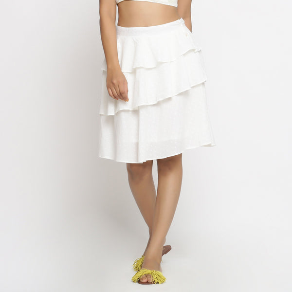 Front View of a Model wearing White Cotton Dobby Ruffled Skirt
