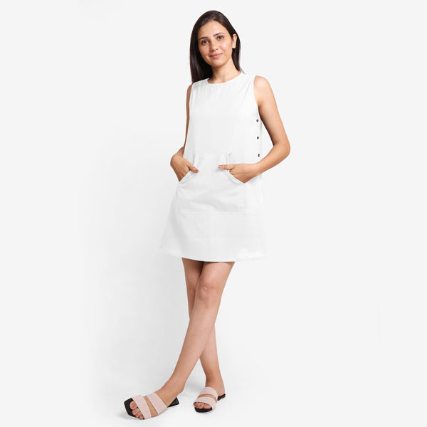 Front View of a Model wearing White Cotton Flax Kangaroo Pocket Dress