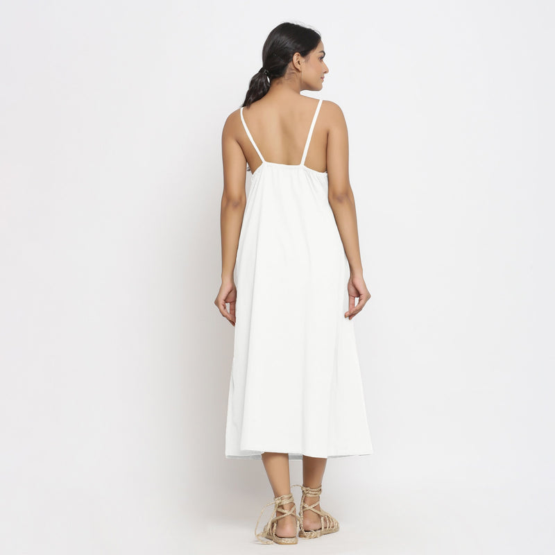 Back View of a Model wearing White Cotton Flax Strap Sleeve A-Line Dress