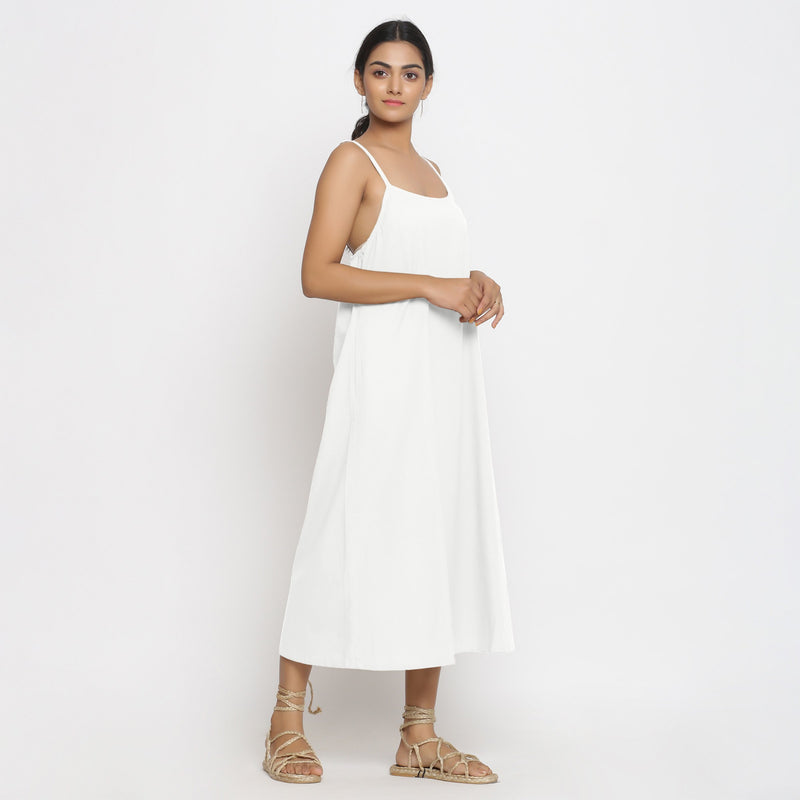 Right View of a Model wearing White Cotton Flax Strap Sleeve A-Line Dress