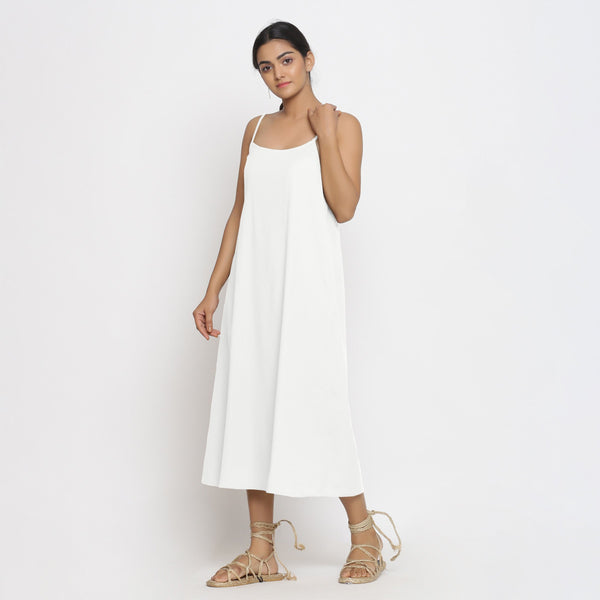 Front View of a Model wearing White Cotton Flax Strap Sleeve A-Line Dress