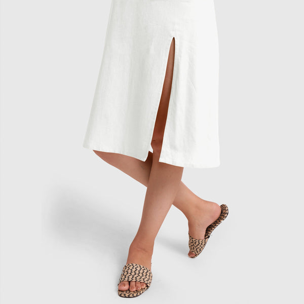 White Cotton Flax Strappy Slit Dress