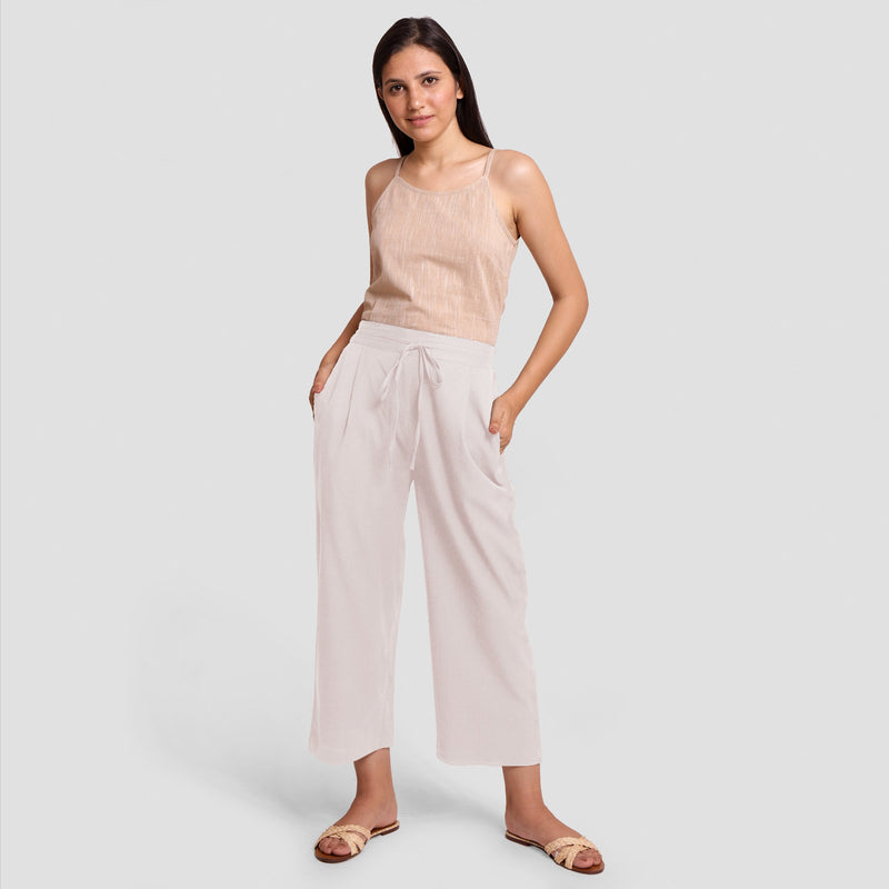 Front View of a Model wearing White Cotton Flax Wide Legged Pant