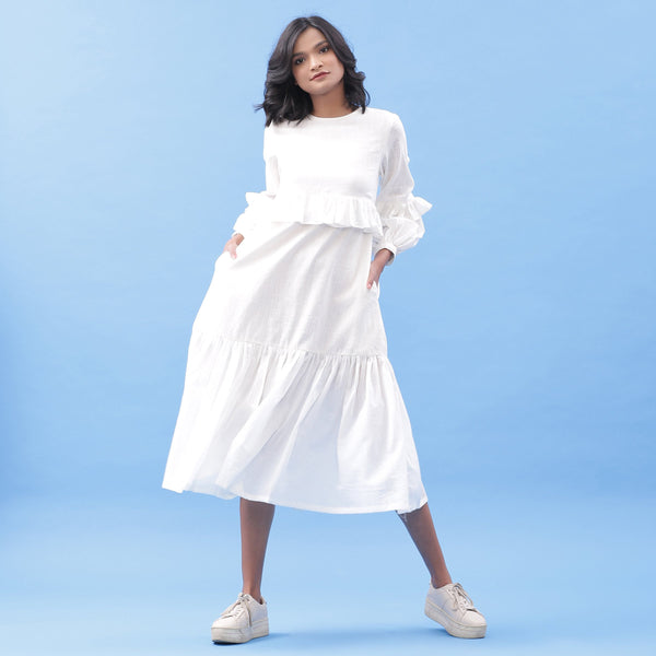 Front View of a Model wearing White Cotton Frilled Bohemian Tier Midi Dress