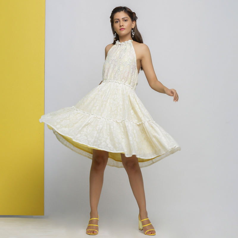Front View of a Model wearing White Cotton Lace Fit and Flare Dress
