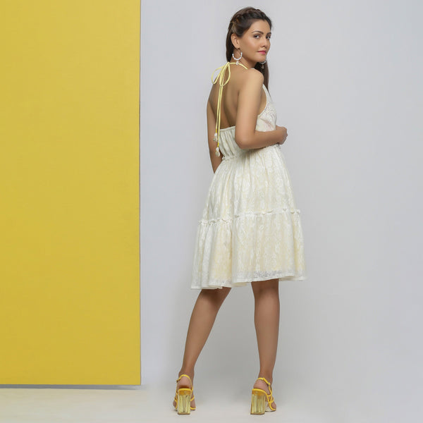 Back View of a Model wearing White Cotton Lace Fit and Flare Dress
