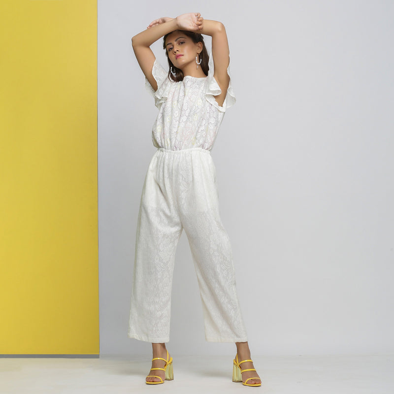 Front View of a Model wearing White Cotton Lace Hand Embroidered Jumpsuit