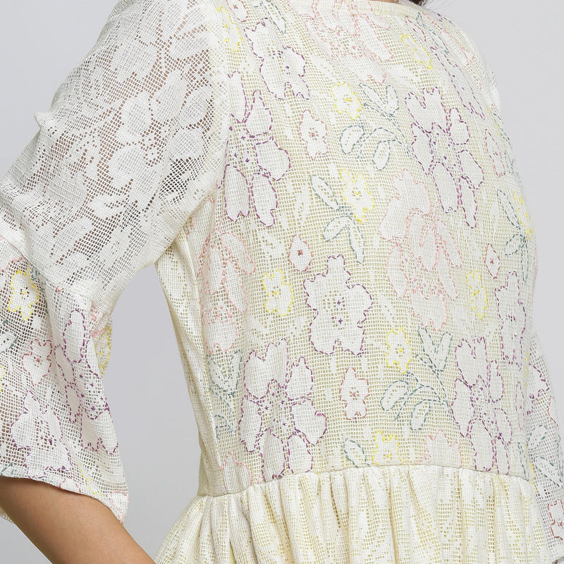 Right Detail of a Model wearing White Cotton Hand-Embroidered Yoked Dress