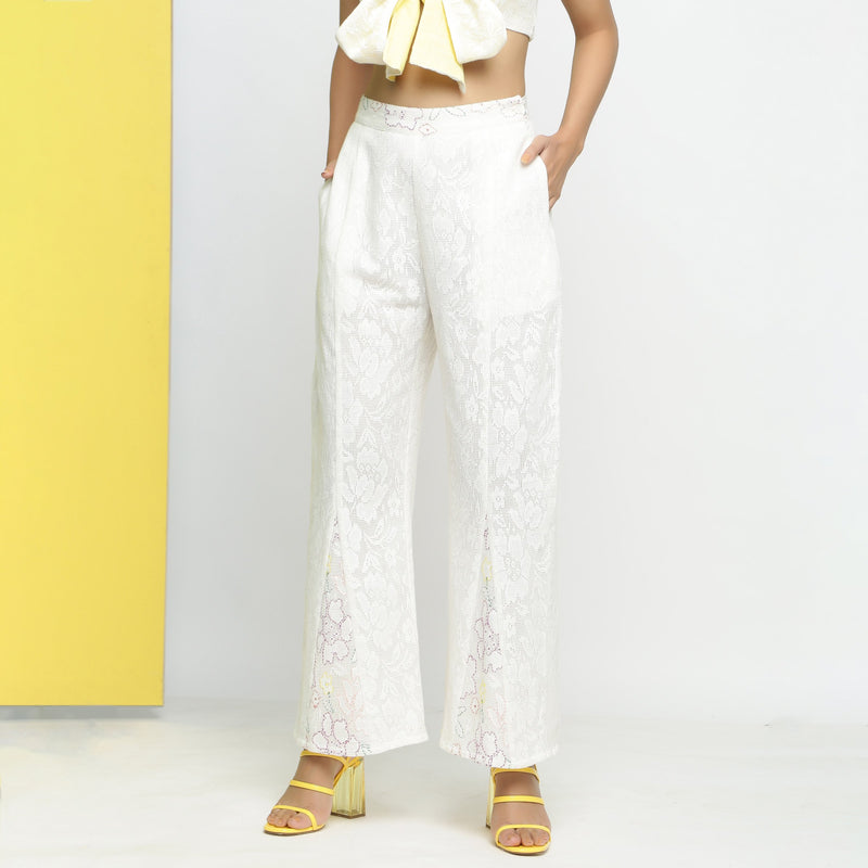 Front View of a Model wearing White Cotton Schiffli Paneled Pant