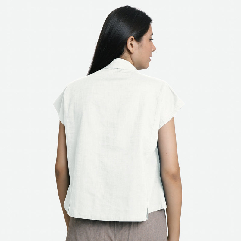 Back View of a Model wearing White Deep Neck Button-Down Cotton Top