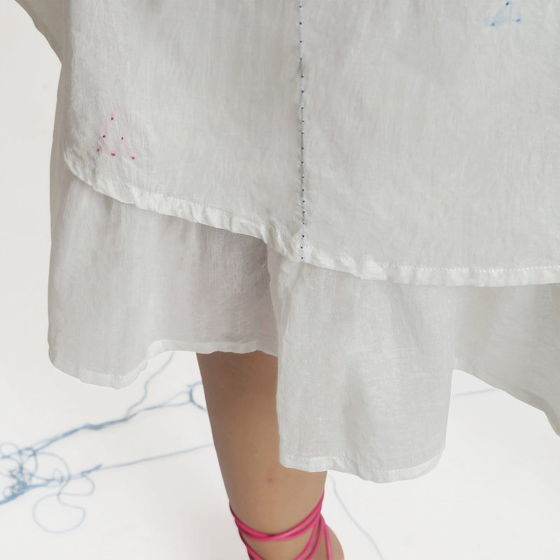 Close View of a Model wearing White Embroidered Cotton A-Line Dress