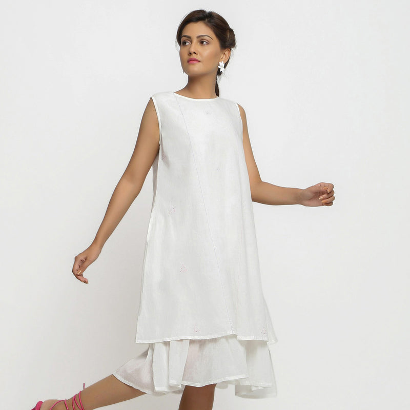 Front View of a Model wearing White Embroidered Cotton A-Line Dress