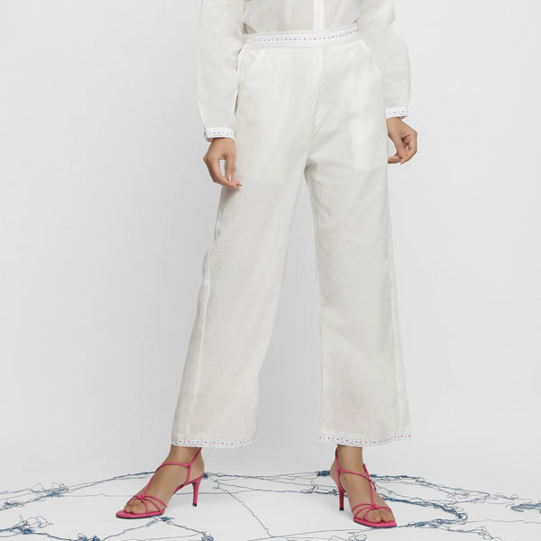 Front View of a Model wearing White Hand-Beaded Straight Pant