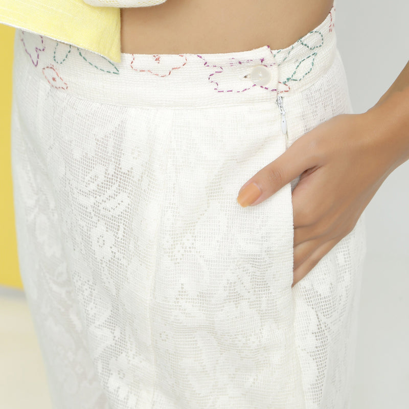 Front Detail of a Model wearing White Cotton Lace Paneled Pant
