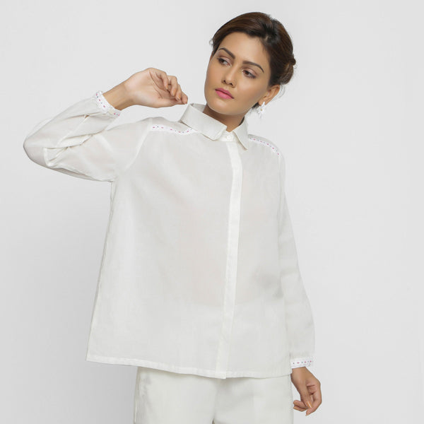 Front View of a Model wearing White Organic Cotton Button-Down Top