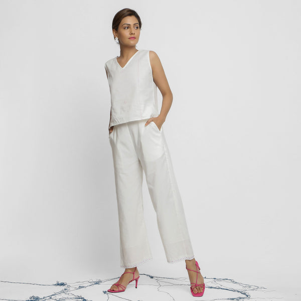 Front View of a Model wearing White Organic Cotton Top and Banded Hem Pant Set