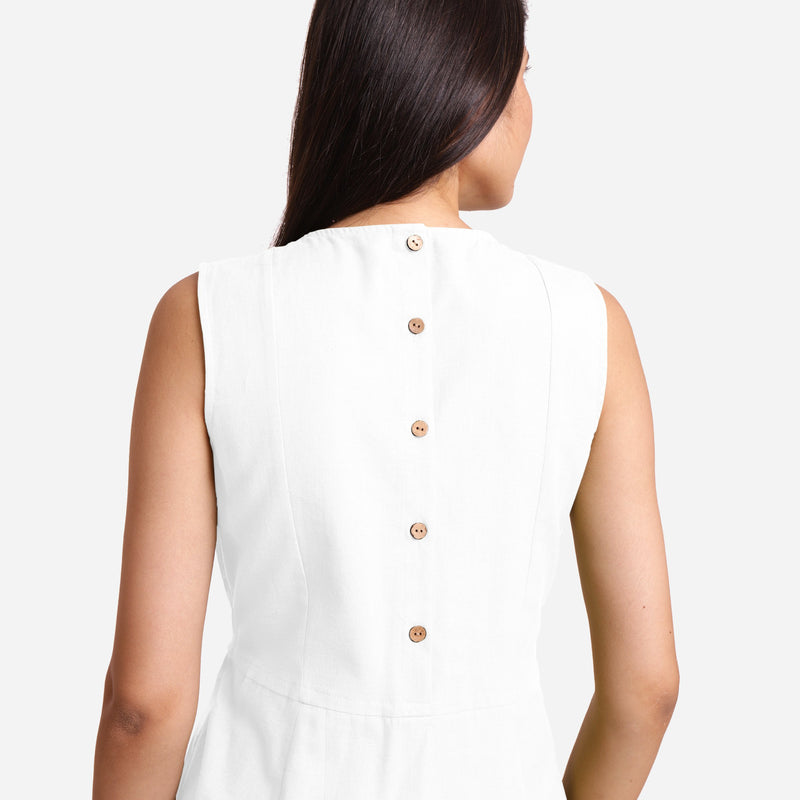 Back Detail of a Model wearing White Patch Pocket Round Neck Dress