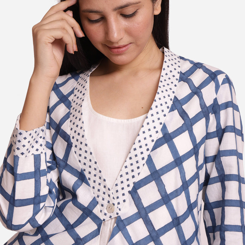 Front Detail of a Model wearing Check Print Loose Fit Cotton Shrug