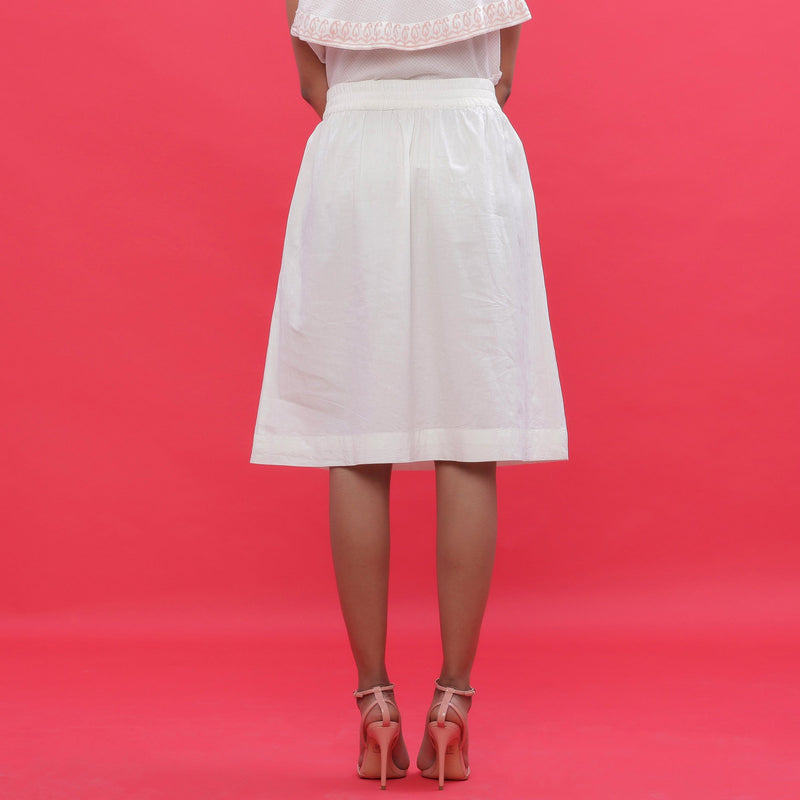 Back View of a Model wearing White Poplin A-Line Hand Beaded Skirt