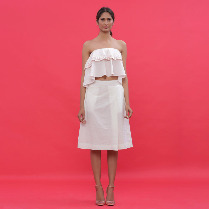 Front View of a Model wearing White Poplin A-Line Hand Beaded Skirt