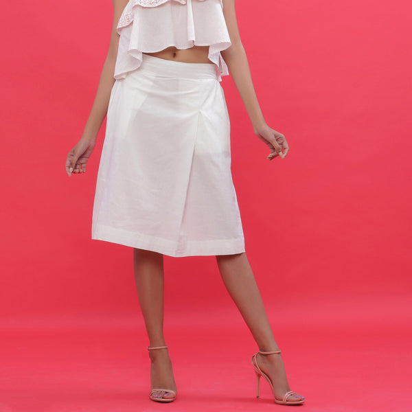 Front View of a Model wearing White Poplin Hand Beaded A-Line Skirt