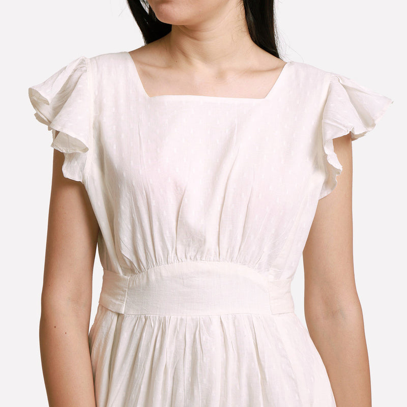 Front Detail of a Model wearing White Princess Line Backless Short Dress